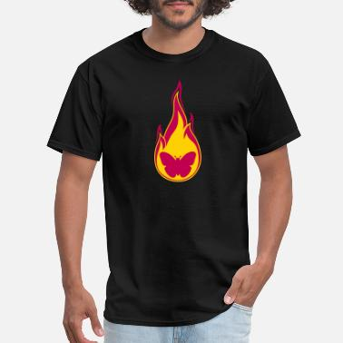 Flaming butterfly flame burn fire hot silhouette insect wi - Men's T-Shirt