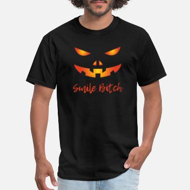 Spooky Bitch Smile Bitch Pumpkin Halloween - Men's T-Shirt