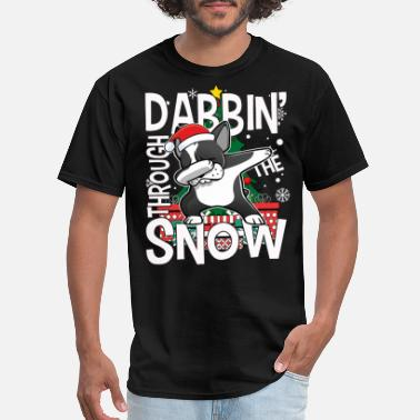 Terrier Dabbin' Through The Snow Santa Boston Terrier - Men's T-Shirt