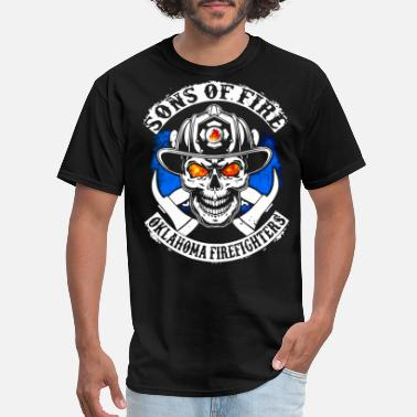 Fuck Off Skeleton Hand sons of fire oklahoma firefighters scare skeleton - Men's T-Shirt