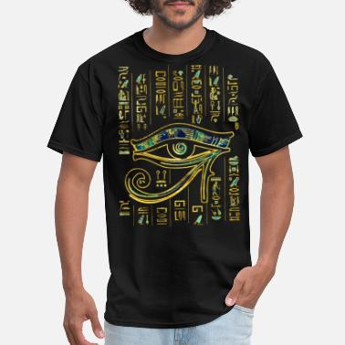 Horus Egyptian Eye of Horus on hieroglyphics and marble - Men's T-Shirt