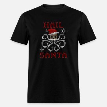 Hail Santa T Shirt  Merry Christmas Gift Metal Rock Pentagram Funny Party Staff