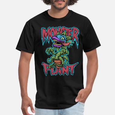 Flowercontest Crazy Monster Plant In A Pot Illustration Drawing - Men's T-Shirt