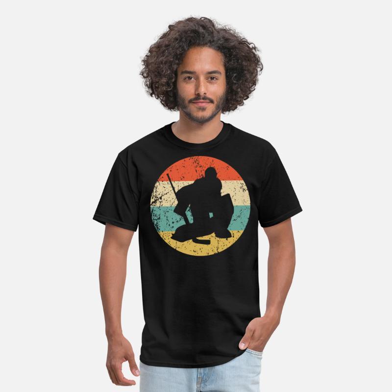 Hockey T-Shirts - Hockey Vintage Retro Hockey Goalie - Men s T-Shirt black 0ed49bcd2