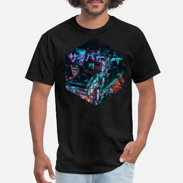 Futuristic Cyber Cyberpunk Japan - Geometric Abstract Steampunk - Men's T-Shirt