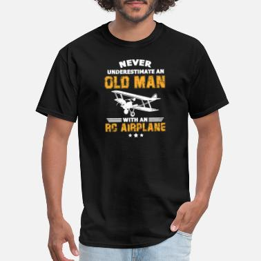 Airport Never Underestimate An Old Man With An RC Airplane - Men's T-Shirt