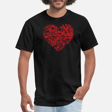 Line Love Heart Of Lines | heart lines love red - Men's T-Shirt