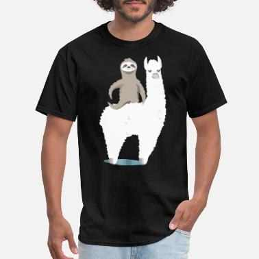 sloth riding llama funny animals happy best friend - Men's T-Shirt
