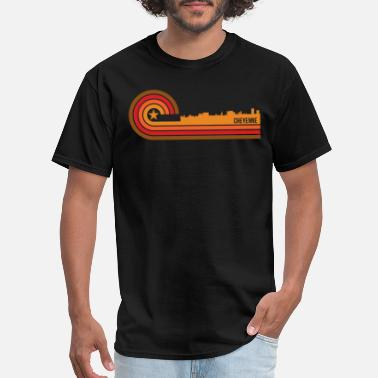Cheyenne Retro Style Cheyenne Wyoming Skyline - Men's T-Shirt