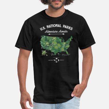 Map National Park Map Vintage All 59 National Parks - Men's T-Shirt