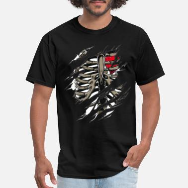 Rib Cage Scary Rib Zombie Rib Cage Showing Skeleton Halloween Scary Dark - Men's T-Shirt
