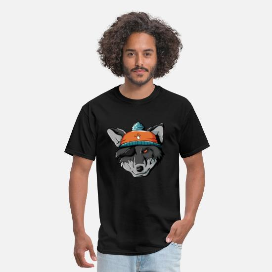 Nocturnal T-Shirts - Winter Wolf Wild Dog Wolf Pack Mountains Cold Snow - Men's T-Shirt black