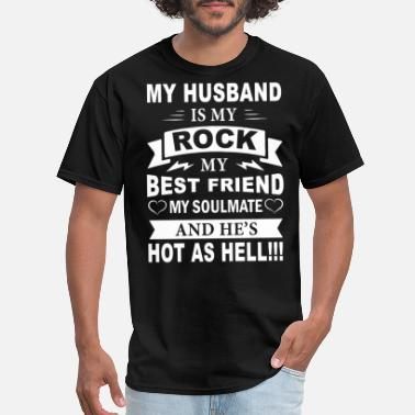 Love My Military Husband my husband is my rock wife t shirts - Men's T-Shirt