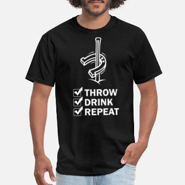 Repeat Throw Drink Repeat Horseshoe Pitching Ringer - Men's T-Shirt