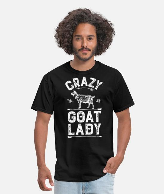 Crazy Goat Lady T-Shirts - Crazy Goat Lady T Shirt Funny Goats Lovers Farm - Men's T-Shirt black