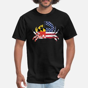 Maryland Blue Crab Maryland State Flag American Flag Blue Crab - Men's T-Shirt