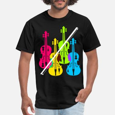 Playing Violin Multicolored Violins Birthday Gift For Musicians - Men's T-Shirt