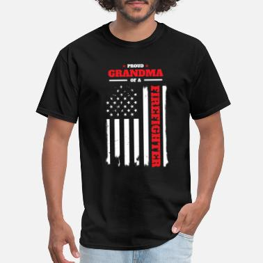 Firefighter Grandma Proud Grandma of a Firefighter Distressed Flag - Men's T-Shirt