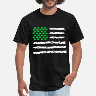 Marijuana-leaf-american-flag-... Green Marijuana Leaf American Flag - Men's T-Shirt