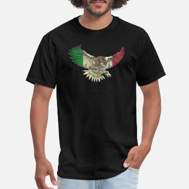 Mexico Flag Eagle Flying Eagle Vintage Mexican Design Mexican Flag Design For Mexican Pride Outline - Men's T-Shirt