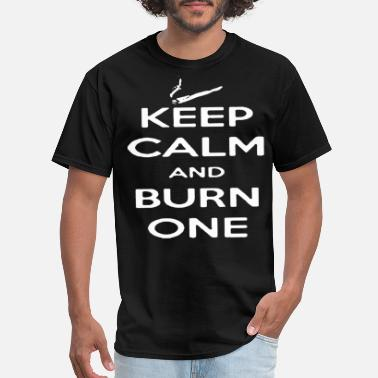 Smoking Bear Funny Keep Calm And Burn One Weed Smoking Pot Tee - Men's T-Shirt