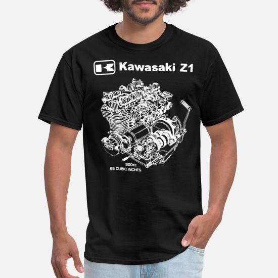 Kawasaki Z1 KZ GPZ ZX Engine Cutaway T Shirt Motorcycle Ninja 1972 cafe racer
