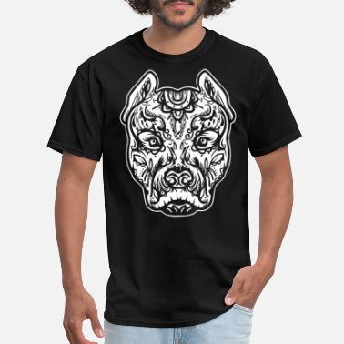 Dtg Pitbull Tattoo Art Dog Breed Skull Piston Dtg Pitb - Men's T-Shirt