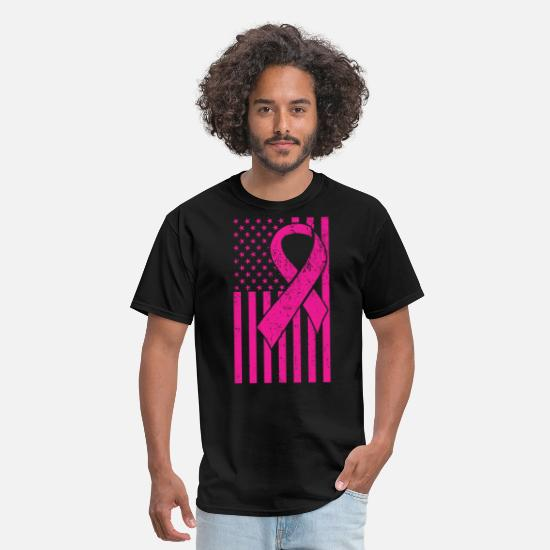 Cancer T-Shirts - Distressed American Flag Breast Cancer Awareness P - Men's T-Shirt black