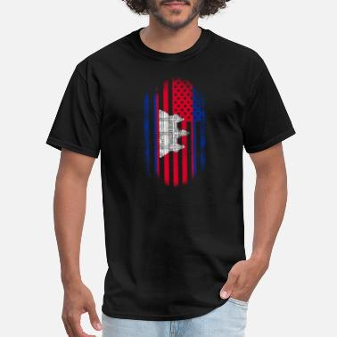 Cambodia Cambodian Flag Cambodian American Flag Cambodia and USA Design - Men's T-Shirt