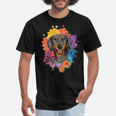Wiener Dog The Butterfly Flower And Dachshund - Men's T-Shirt