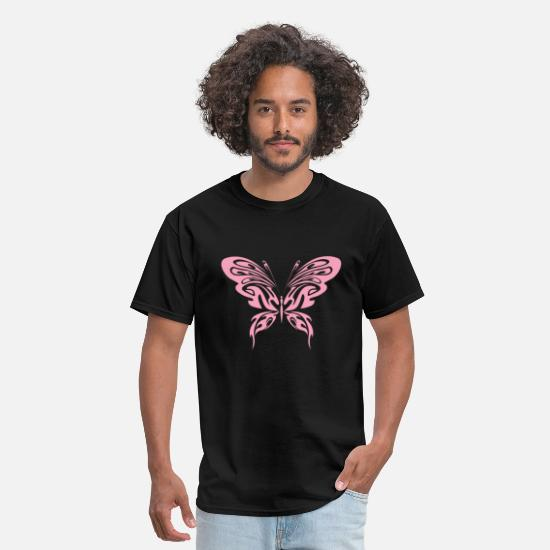 Gift Idea T-Shirts - Pinkish Butterfly Tribal Art Tribe Floral Paleo - Men's T-Shirt black