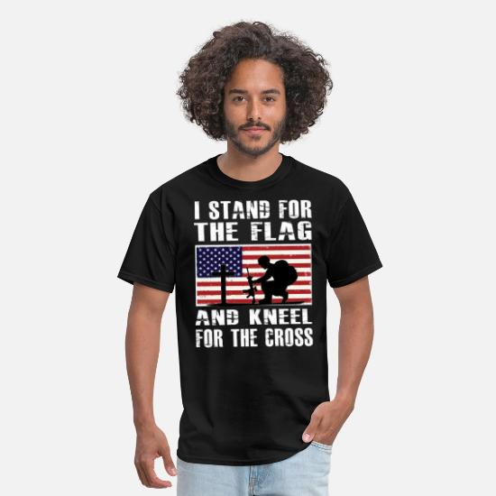 Stand T-Shirts - I Stand For The Flag And Kneel For The Cross Shirt - Men's T-Shirt black