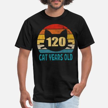 Feline 120 Cat Years Old Retro Style 26th Birthday Gift - Men's T-Shirt