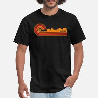 Galveston Texas Retro Style Galveston Texas Skyline - Men's T-Shirt
