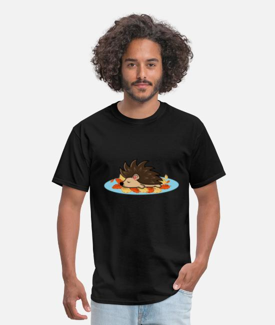 Stag T-Shirts - Hedgehog Cute Leafs Pet Lover Gift - Men's T-Shirt black