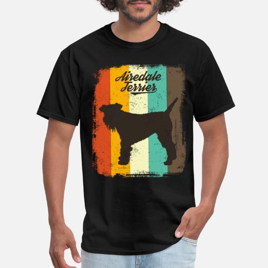 Men Women Youth Tank Long Airedale Terrier Vintage-Style Pop-Art T-Shirt Tee