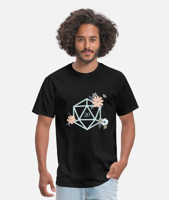 Board Game T-Shirts - Flowers and Plants Polyhedral D20 Dice - Men's T-Shirt black