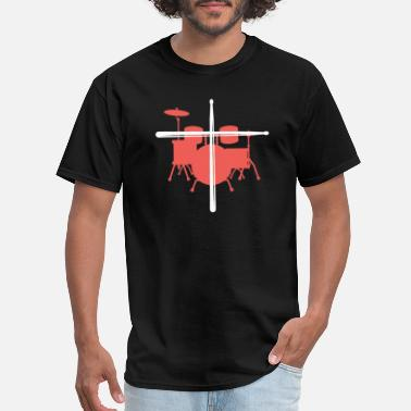 Drum Drumset and Cross, Drummer - Men's T-Shirt