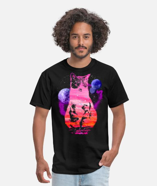 Space T-Shirts - Space Cat with Planets - Men's T-Shirt black