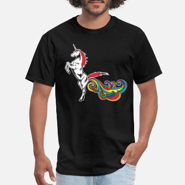 Gay Bachelor Party Unicorn Farting Rainbow Funny Hilarious Gay Womens - Men's T-Shirt