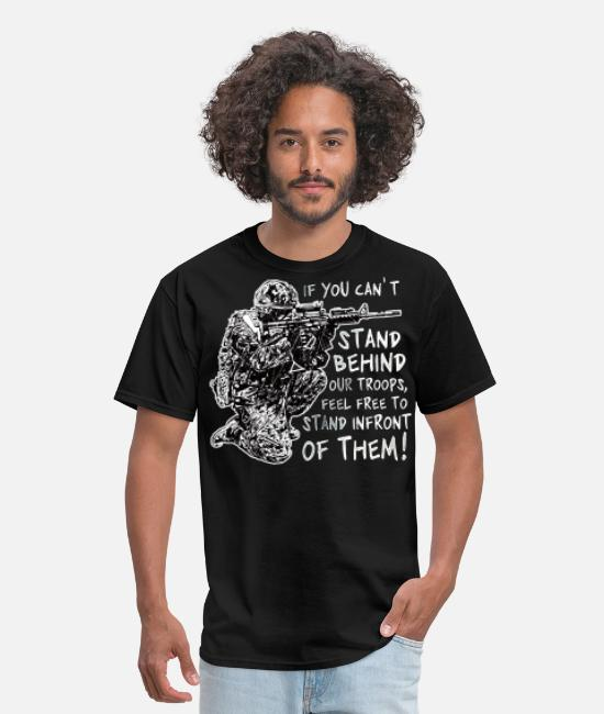 Troops T-Shirts - Stand Behind Our Troops Canadian Military - Men's T-Shirt black