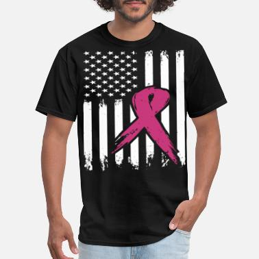 Breast Military Breast Cancer Pink Ribbon Usa American Flag Awaren - Men's T-Shirt