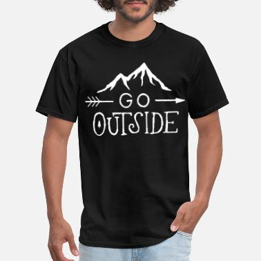 Boat Neck Go Outside V Neck Tee Available in Styles Vintag - Men's T-Shirt