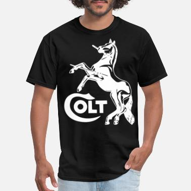 Colt Colt Horse White Logo Amendment Pro Gun Brand Fire - Men's T-Shirt