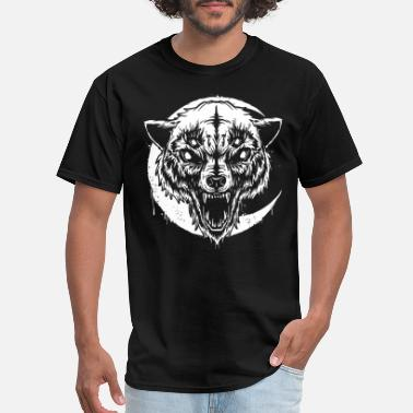 Rockabilly Symbols Wolf demon horror werewolf monster rockabilly psyc - Men's T-Shirt