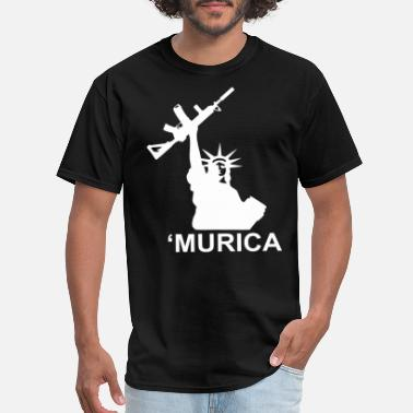 Murica Murica Lady Liberty Gun Tee gun rights molon labe - Men's T-Shirt