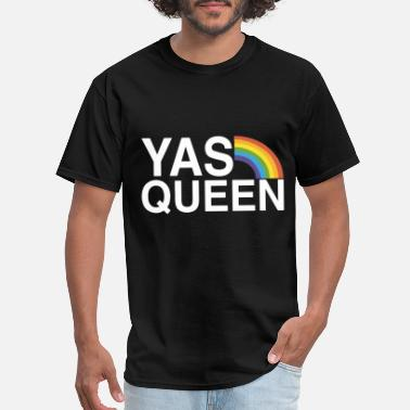 Queen-gay-lesbian yas queen funny lgbt gay pride flag saying gay les - Men's T-Shirt
