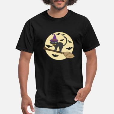Halloween Cat Halloween Cat Broom - Men's T-Shirt