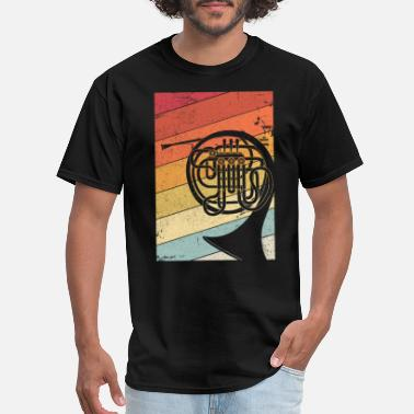 Us French Horn Graphic. Retro Style Brass Band Design - Men's T-Shirt