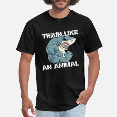 Bodybuilding Shark Train Like An Animal | Shark Fitness Bodybuilder - Men's T-Shirt